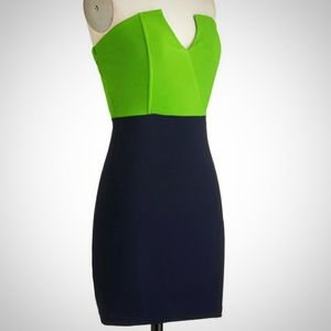 Modcloth Sz S Navy & Green Strapless Mini Dress